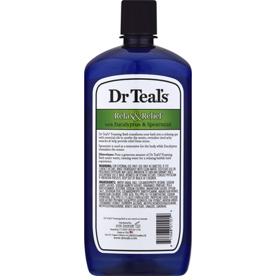 Dr. Teal's Foaming Bath with Pure Epsom Salt, Relax & Relief with Eucalyptus & Spearmint