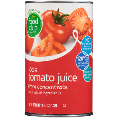 Food Club 100% Tomato Juice From Concentrate