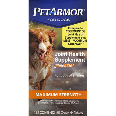 PetArmor Joint Health Supplement, Maximum Strength, Plus MSM, for Dogs, Chewable Tablets