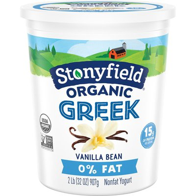 Stonyfield Organic Greek Vanilla Bean Nonfat Yogurt
