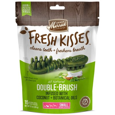 Fresh Kisses Double-brush Infused With Coconut + Botanical Oils Natural Dental Treats For Dogs