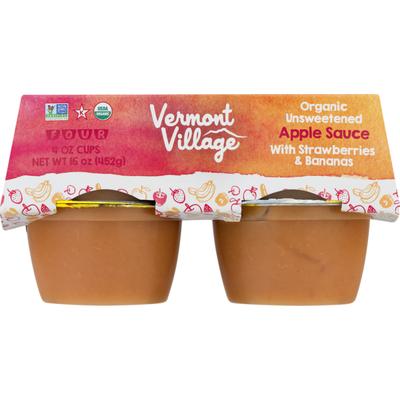 Vermont Village Organic Unsweetened Apple Sauce With Strawberries & Bananas