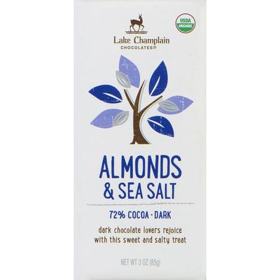 Lake Champlain Chocolates Organic Dark Sea Salt & Almonds Chocolate Bar, 72% Cocoa