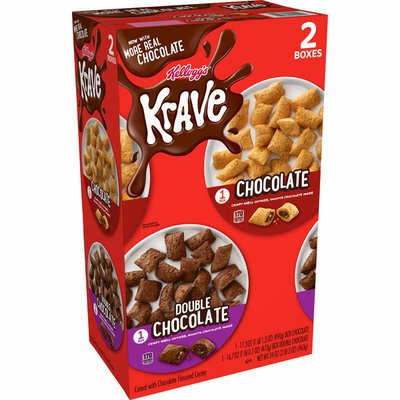 Kellogg's Krave Breakfast Cereal, 7 Vitamins and Minerals, Variety Pack