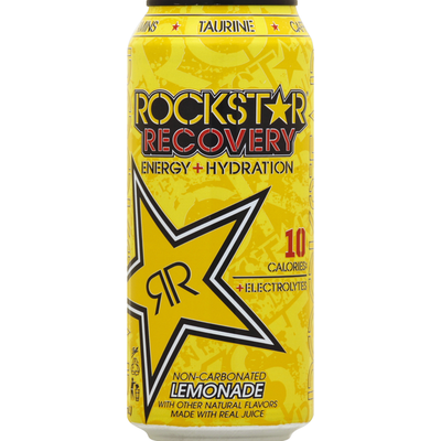 Rockstar Energy Drink, Energy + Hydration, Non-Carbonated, Lemonade