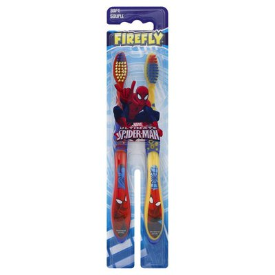 Firefly Toothbrush, Marvel Ultimate Spiderman, Soft, 2 Pack