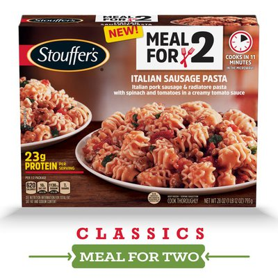 Stouffer's Meal for Two, Italian Sausage Pasta – Frozen Dinner with 2 Servings, 23g of Protein per Serving, Delicious Frozen Pasta Entrée