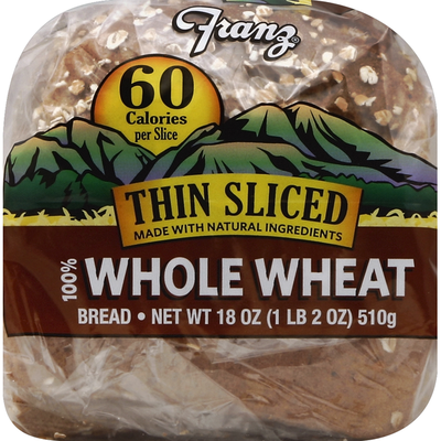 Franz Bread, Big Horn Valley 100% Whole Wheat, Thin Sliced