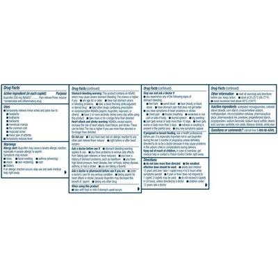 Advil Coated Caplets Ibuprofen 200mg, Coated Caplets Ibuprofen 200mg