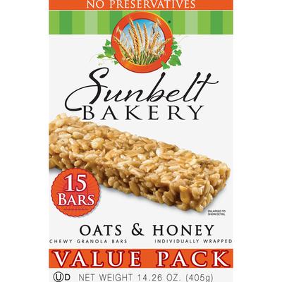 Sunbelt Bakery Granola Bars, Oats & Honey, Chewy, Value Pack