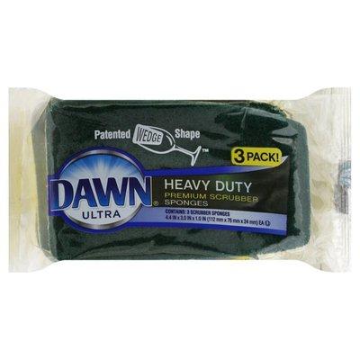 Dawn Sponges, Heavy Duty, Premium Scrubber, 3 Pack