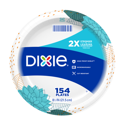 Dixie Paper Plates, 8.5 Inch Lunch/Dinner Plate (Design May Vary)