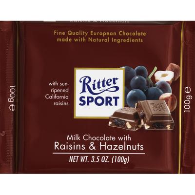 Ritter Sport Milk Chocolate, with Raisins & Hazelnuts