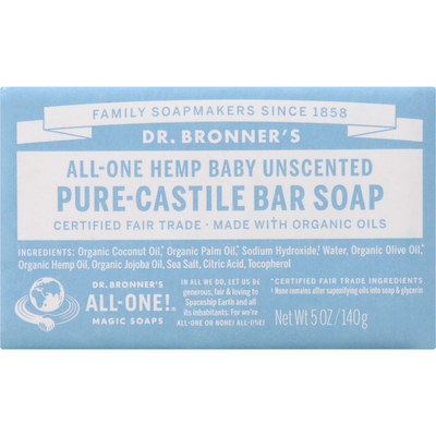 Dr. Bronner's Bar Soap, Pure-Castile, All-One Hemp, Baby Unscented