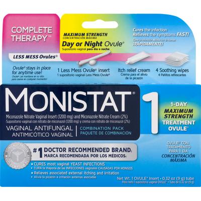 MONISTAT Vaginal Antifungal 1 Day Maximum Strength Treatment Ovule