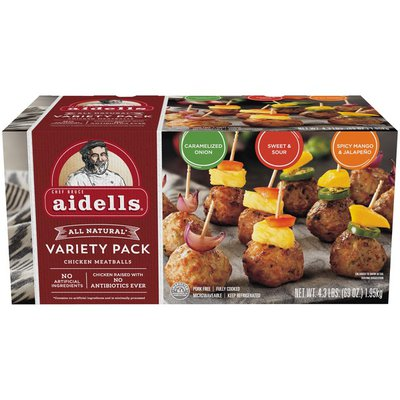 Aidells Chicken Meatballs Variety Pack, Caramelized Onion, Sweet & Sour, Spicy