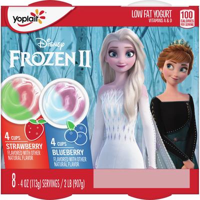 Yoplait Kids Yogurt, Disney Frozen Strawberry and Blueberry Yogurt, 8 Count