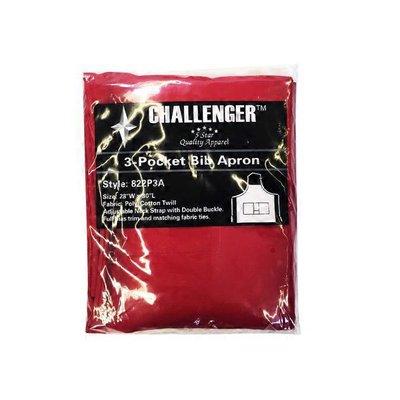 "Challenger 3-Pocket Bib Apron, Poly-Cotton Twill, Red, 28"" X 30"""