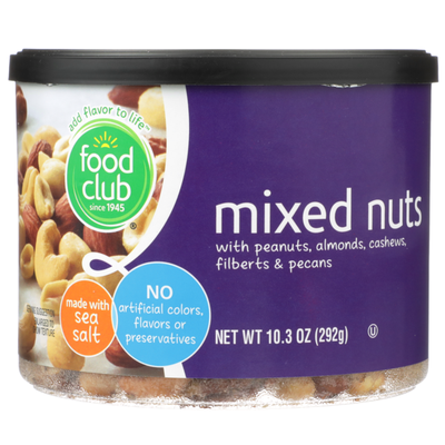 Food Club Mixed Nuts With Peanuts, Almonds, Cashews, Filberts & Pecans