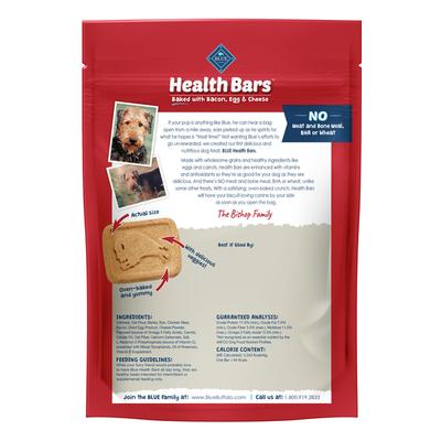 Blue Buffalo Health Bars Natural Crunchy Dog Treats Biscuits, Bacon, Egg & Cheese