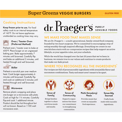 Dr. Praeger's Veggie Burgers, Gluten Free, Super Greens
