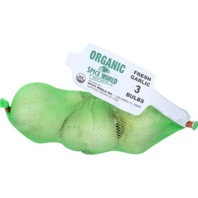 Spice World Organic Fresh Garlic Bulbs - 3 CT