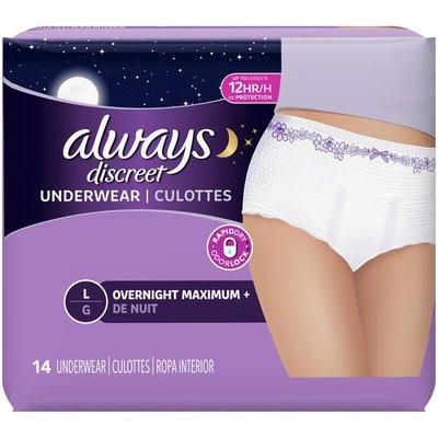 Always Discreet Always Incontinence Underwear, Overnight Maximum +