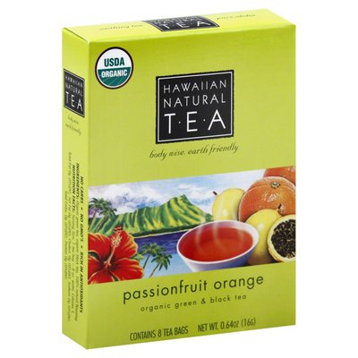 Hawaiian Natural Tea Green & Black Tea, Organic, Passionfruit Orange, Tea Bags
