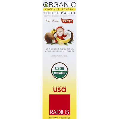 Radius Toothpaste, Organic, Coconut Banana, for Kids