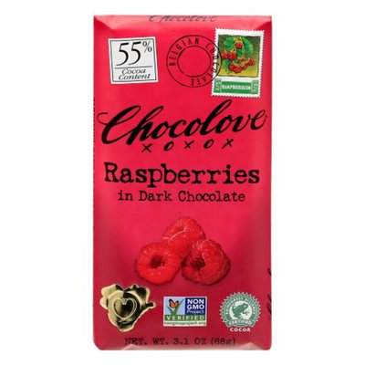 Chocolove Dark Chocolate, Raspberries, 55% Cocoa