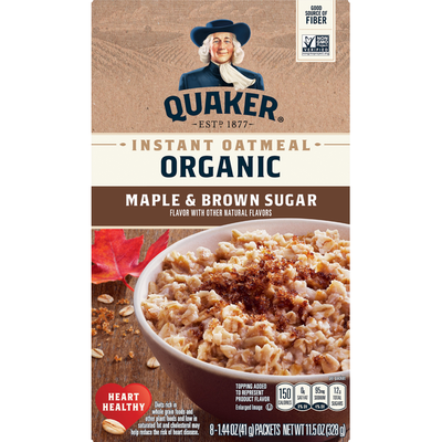 Quaker Select Starts Organic Instant Oatmeal Maple/Brown Sugar