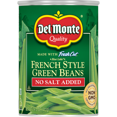 Del Monte Green Beans, No Salt Added, French Style