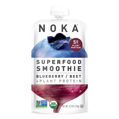 Noka Organic Superfood Fruit Smoothie Pouch, Blueberry Beet