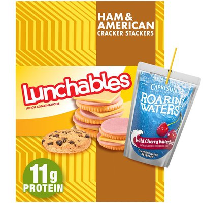 Lunchables Ham & American Cheese Cracker Stackers Meal Kit with Capri Sun Roarin' Waters Wild Cherry Drink & Chocolate Chip Cookies