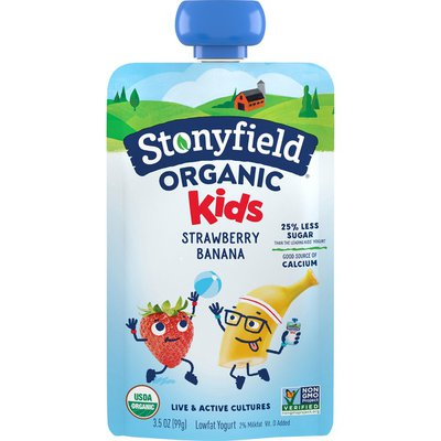 Stonyfield Organic Kids Strawberry Banana Lowfat Yogurt