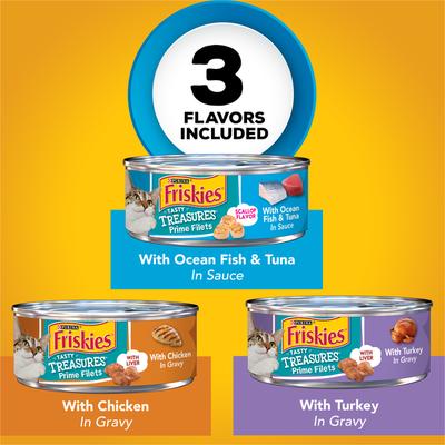 Friskies Gravy Wet Cat Food Variety Pack, Tasty Treasures Prime Filets