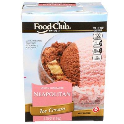 Food Club Neapolitan Vanilla Flavored, Chocolate & Strawberry Ice Cream