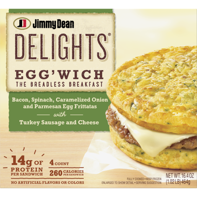 Jimmy Dean Bacon, Spinach & Onion Egg'wich