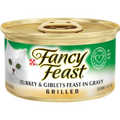 Purely Fancy Feast Gravy Wet Cat Food, Grilled Turkey & Giblets Feast in Gravy