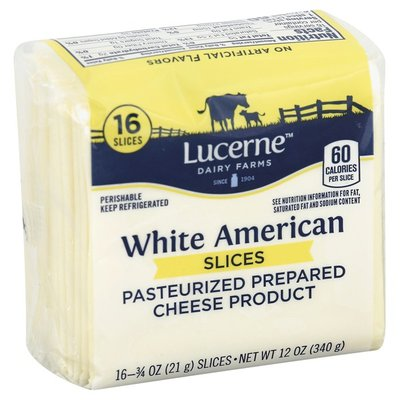 Lucerne White American Pasteurized Prepared Cheese Product Slices