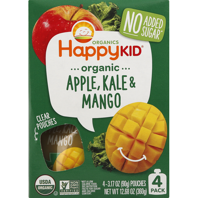 Happy Family Apple, Kale & Mango, Organic, 4 Pack