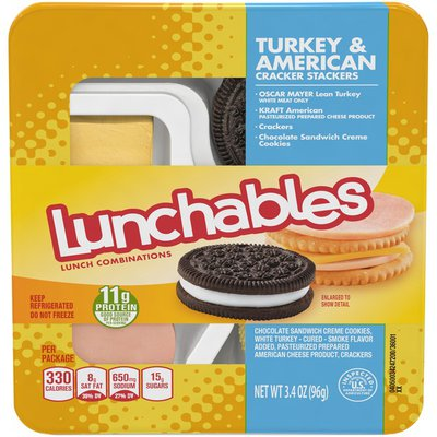 Lunchables Turkey & American Cheese Cracker Stackers Snack Kit with Chocolate Sandwich Cookies