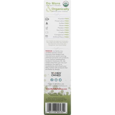 Radius Toothpaste, Organic, Matcha Mint, Gel