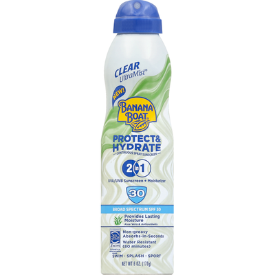 Banana Boat Sunscreen, Continuous Spray, Broad Spectrum SPF 30, 2 in 1