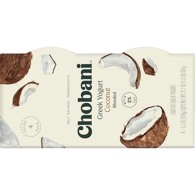Chobani Greek Yogurt, Coconut Blended, Value 4 Pack
