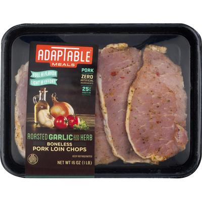 AdapTable Meals Pork Loin Chops, Boneless, Roasted Garlic & Herb