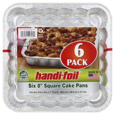 """Handi-Foil Eco-Foil 8"""" Square Cake Pans - 6 PK"""