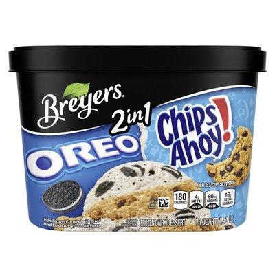 Breyers Frozen Dairy Dessert 2in1 Oreo Chips Ahoy!