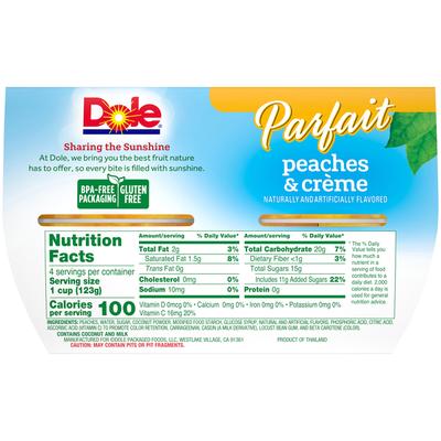 Dole Parfait Peaches & Creme Fruit Bowls
