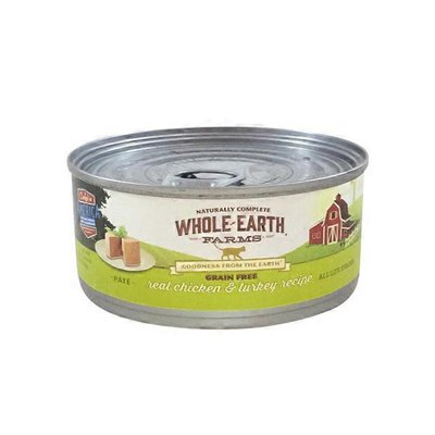 Whole Earth Farms Grain Free Real Chicken & Turkey Recipe Natural Food For Cats With Added Vitamins + Minerals